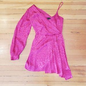 Topshop animal print a line one sleeve pink dress